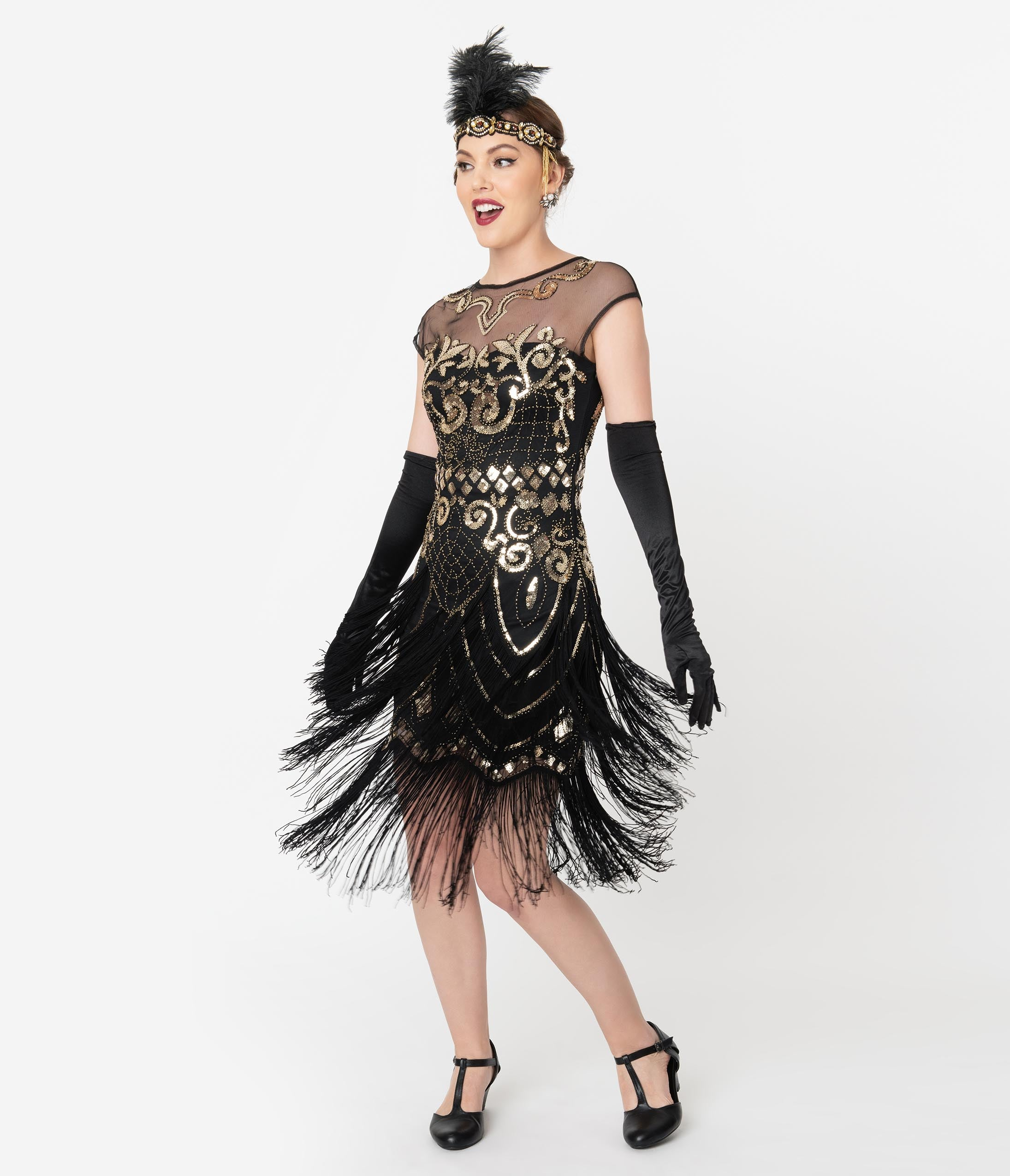 1920s Evening Dresses & Formal Gowns Unique Vintage 1920S Black  Gold Sequin Fringe Zulla Flapper Dress $98.00 AT vintagedancer.com