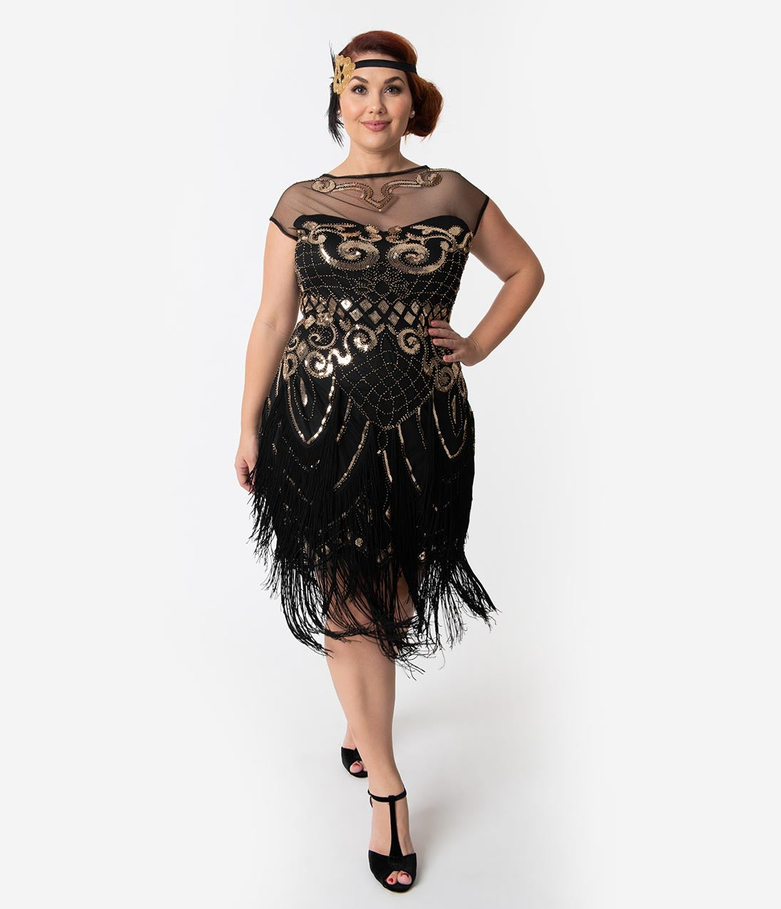 6bb4a685c4 Unique Vintage Plus Size 1920s Black & Gold Sequin Fringe Zulla Flapper  Dress