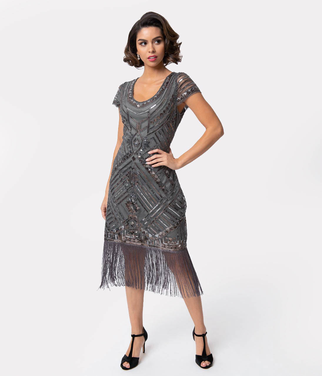 Flapper Dresses & Quality Flapper Costumes Unique Vintage 1920S Grey Beaded Cap Sleeve Renaldo Cocktail Dress $98.00 AT vintagedancer.com