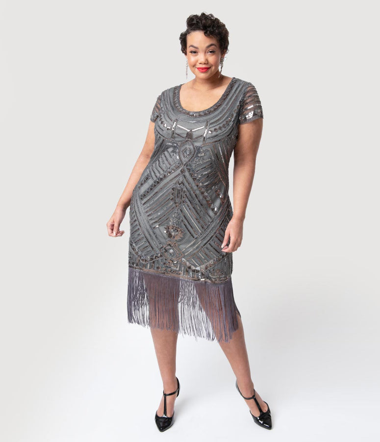 8f003ddc3ec Unique Vintage Plus Size 1920s Grey Beaded Cap Sleeve Renaldo Cocktail Dress