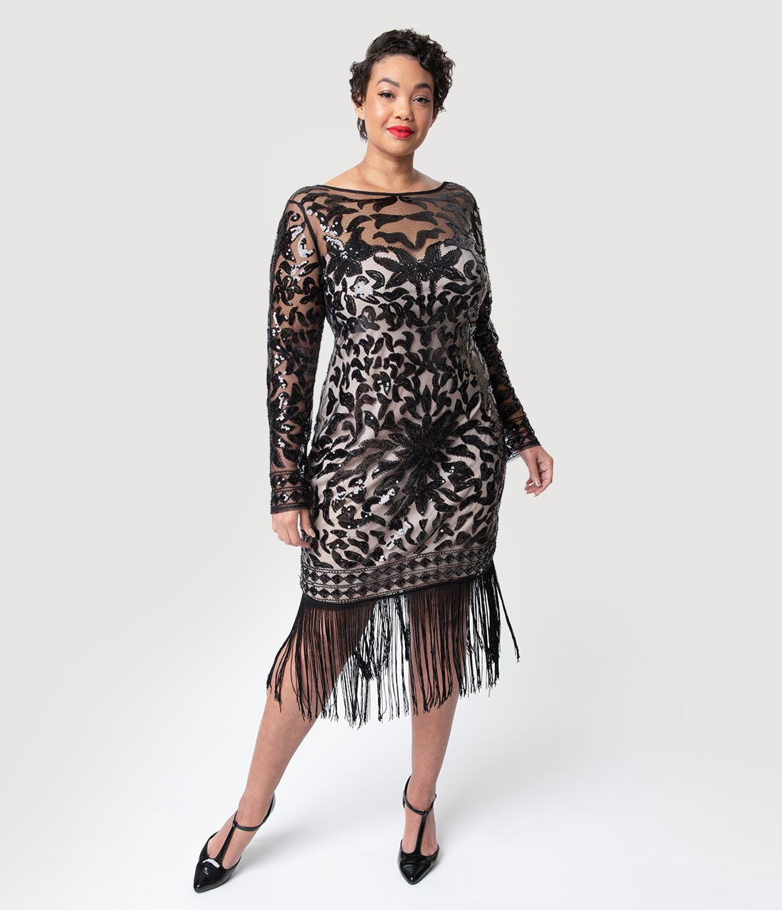 1920s Plus Size Flapper Dresses, Gatsby Dresses, Flapper Costumes Unique Vintage Plus Size 1920S Beige  Black Sequin Long Sleeve Zulma Cocktail Dress $98.00 AT vintagedancer.com