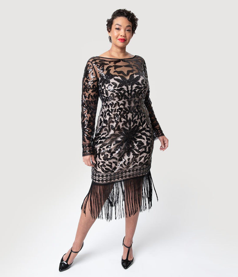 c59f1480ab Unique Vintage Plus Size 1920s Beige   Black Sequin Long Sleeve Zulma  Cocktail Dress
