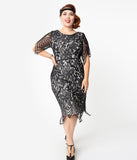 Unique Vintage Plus Size 1920s Black Lace Short Sleeve Linette Cocktail Dress