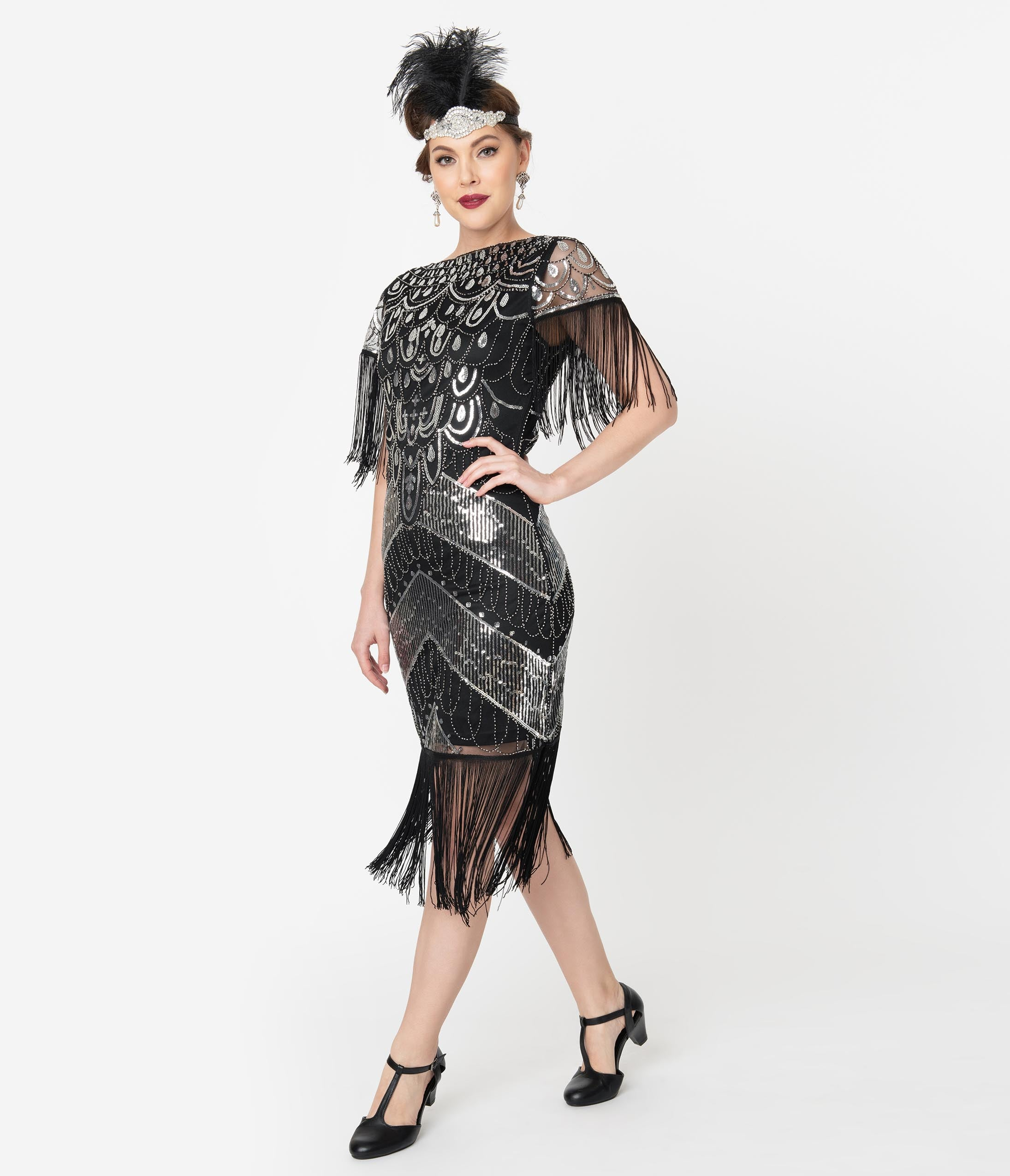 1920s Evening Dresses & Formal Gowns Unique Vintage Black  Silver Sequin Fringe Sleeved Laure Flapper Dress $98.00 AT vintagedancer.com