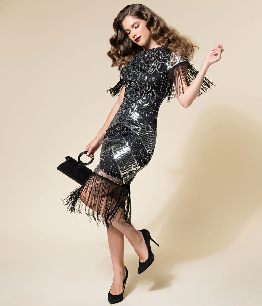Unique Vintage Black & Silver Sequin Fringe Sleeved Laure Flapper Dress
