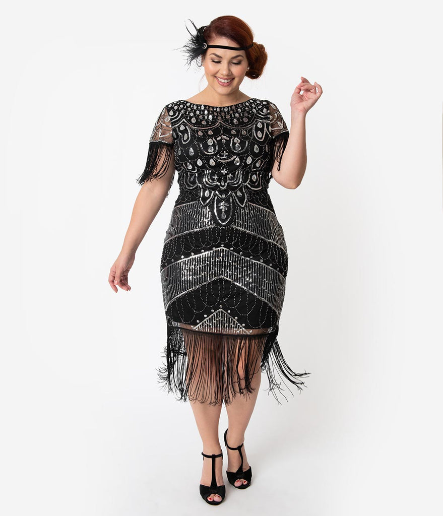 Unique Vintage Plus Size Black & Silver Sequin Fringe Sleeved Laure Flapper  Dress