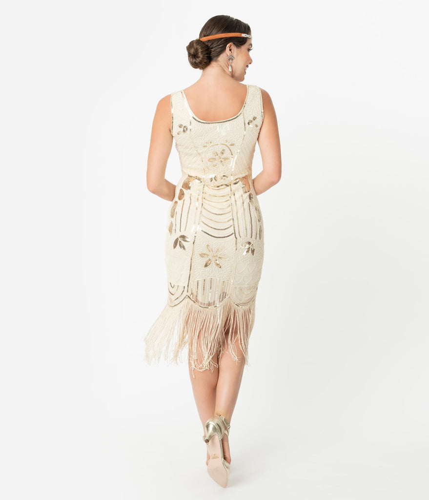 Unique Vintage Cream & Gold Sequin Fringe Cremieux Flapper Dress