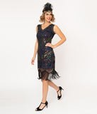 Unique Vintage 1920s Navy Beaded & Black Fringe Fernande Flapper Dress