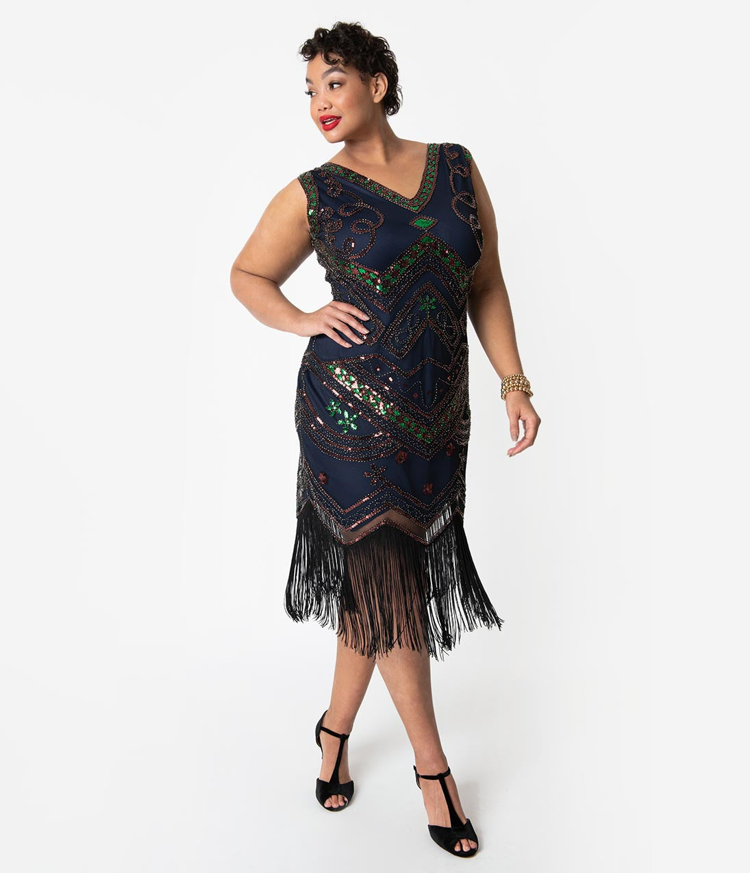 1920s Plus Size Flapper Dresses, Gatsby Dresses, Flapper Costumes Unique Vintage Plus Size 1920S Navy Beaded  Black Fringe Fernande Flapper Dress $98.00 AT vintagedancer.com