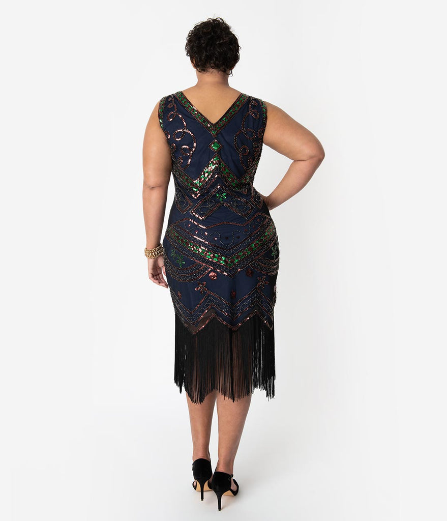 Unique Vintage Plus Size 1920s Navy Beaded & Black Fringe Fernande Flapper Dress