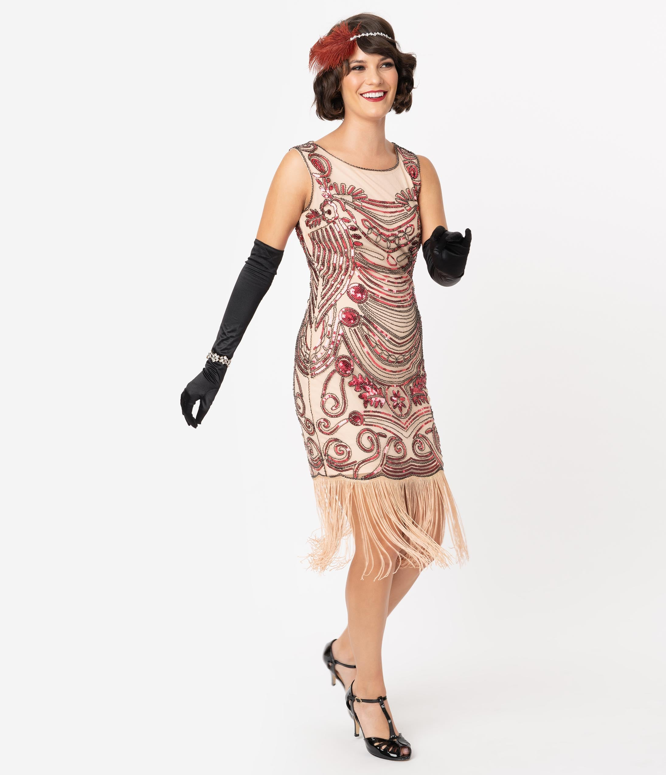 1920s Costumes: Flapper, Great Gatsby, Gangster Girl Unique Vintage 1920S Pink Beaded Yvette Fringe Cocktail Dress $98.00 AT vintagedancer.com