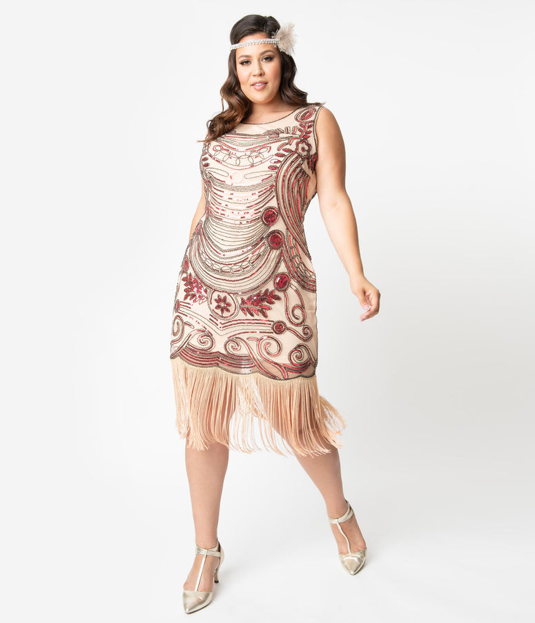 Unique Vintage Plus Size 1920s Pink Beaded Yvette Fringe Cocktail Dress