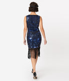 Unique Vintage 1920s Black & Blue Beaded Yvette Fringe Cocktail Dress
