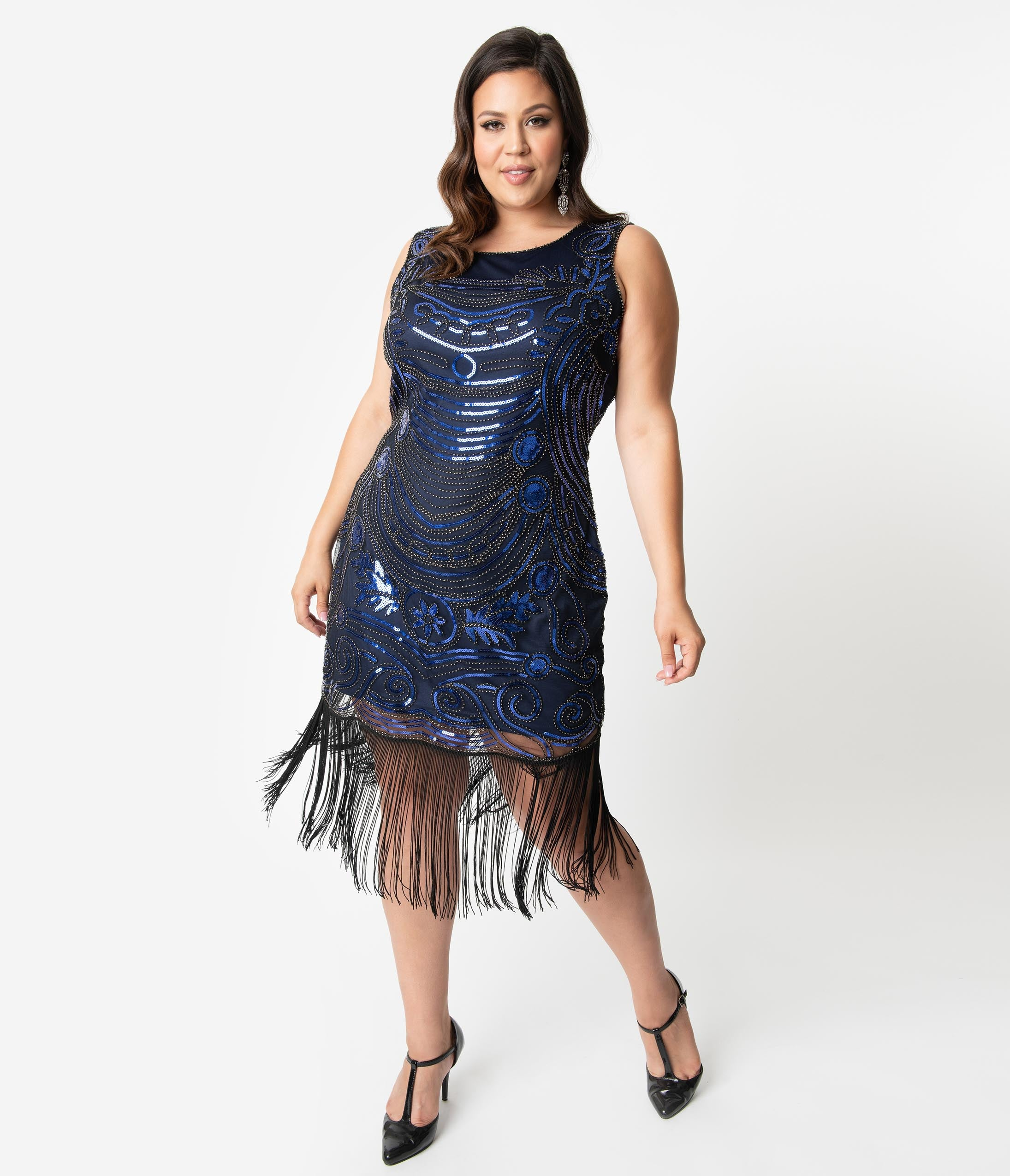 1920s Plus Size Flapper Dresses, Gatsby Dresses, Flapper Costumes Unique Vintage Plus Size 1920S Black  Blue Beaded Yvette Fringe Cocktail Dress $98.00 AT vintagedancer.com