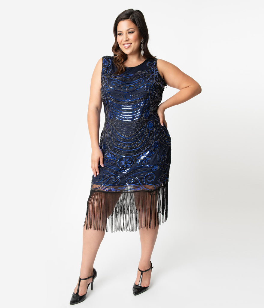 Unique Vintage Plus Size 1920s Black & Blue Beaded Yvette Fringe Cocktail Dress