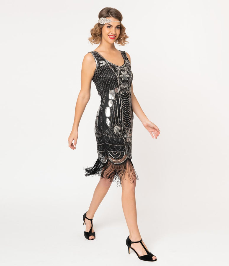 Unique Vintage Black & Silver Sequin Fringe Cremieux Flapper Dress