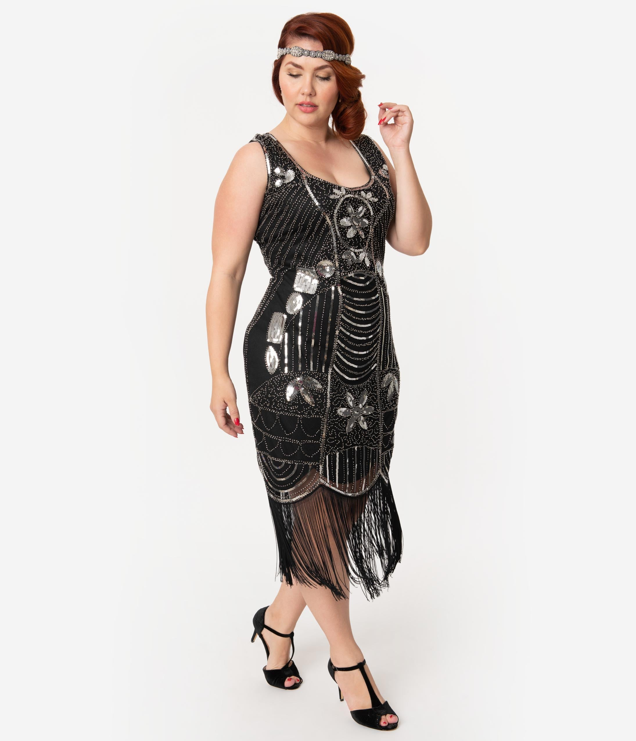 1920s Plus Size Flapper Dresses, Gatsby Dresses, Flapper Costumes Unique Vintage Plus Size Black  Silver Sequin Fringe Cremieux Flapper Dress $98.00 AT vintagedancer.com