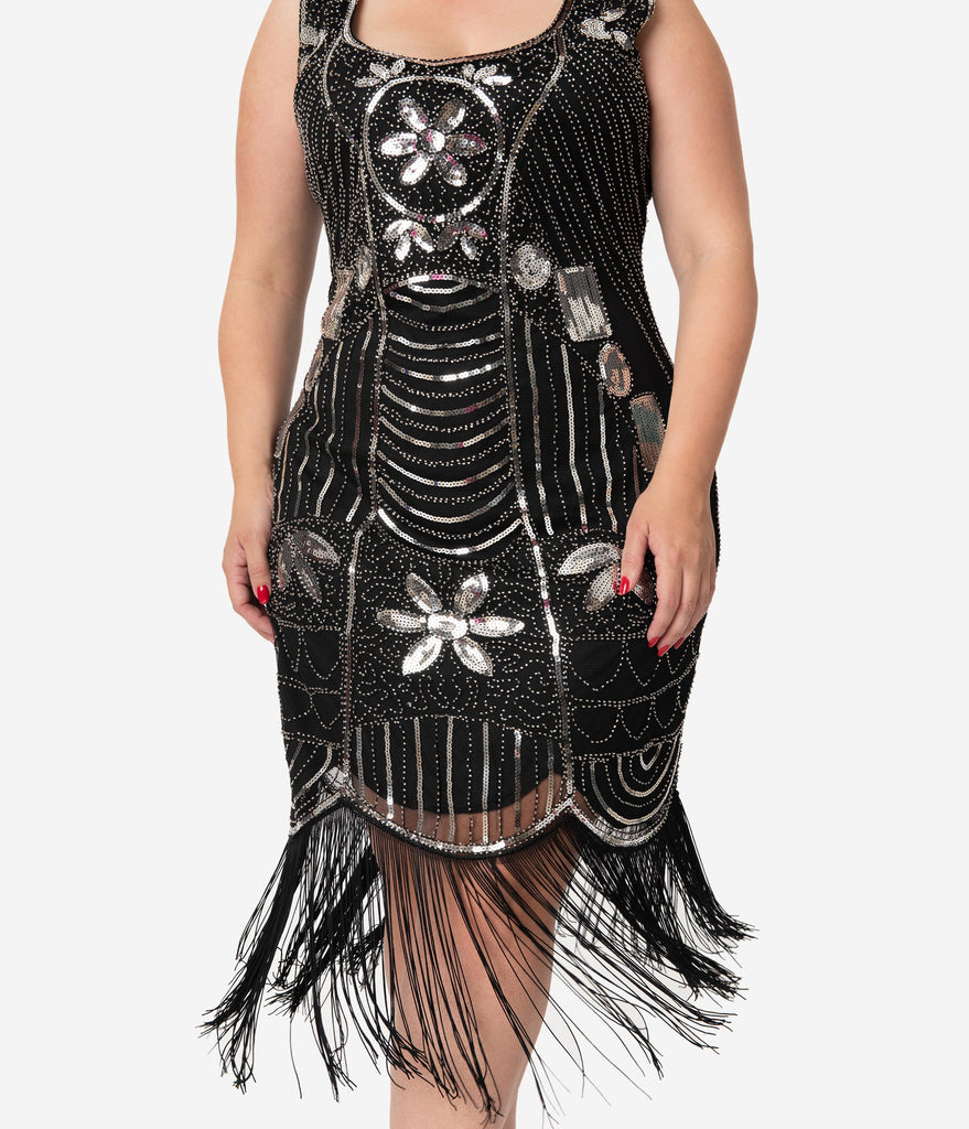 Unique Vintage Plus Size Black & Silver Sequin Fringe Cremieux Flapper Dress