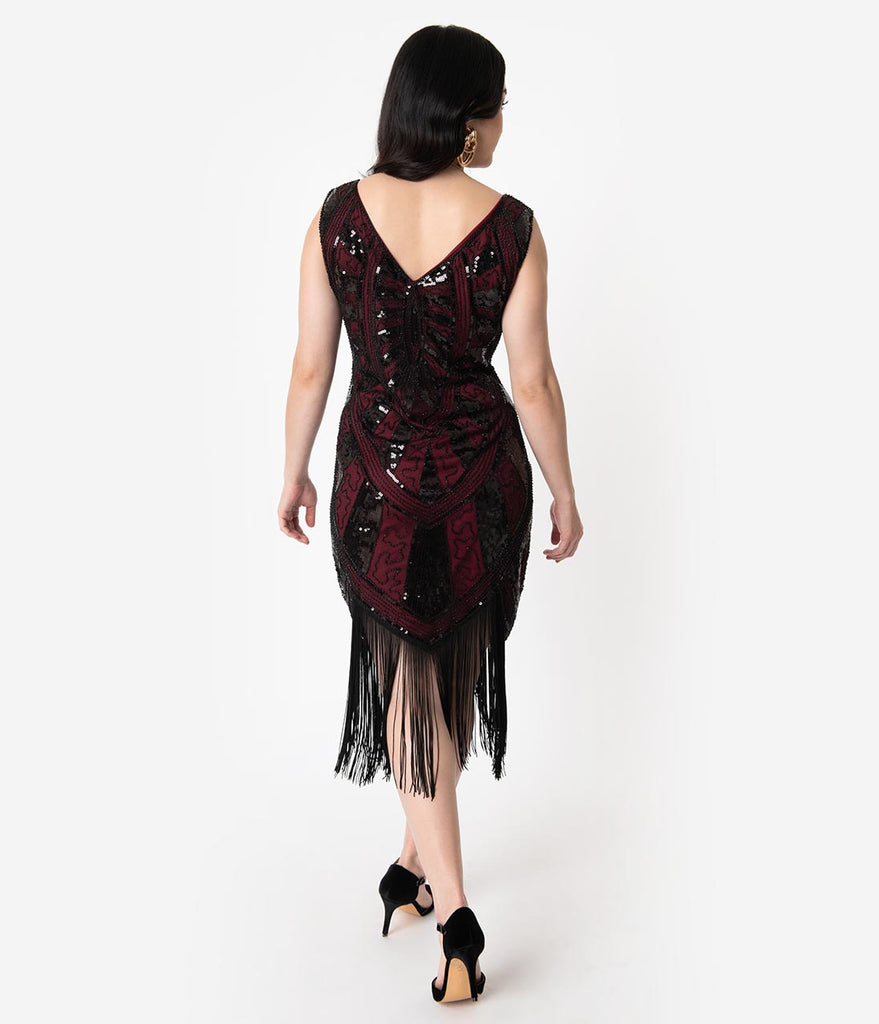Unique Vintage 1920s Burgundy & Black Beaded Fringe Magdeleine Flapper Dress