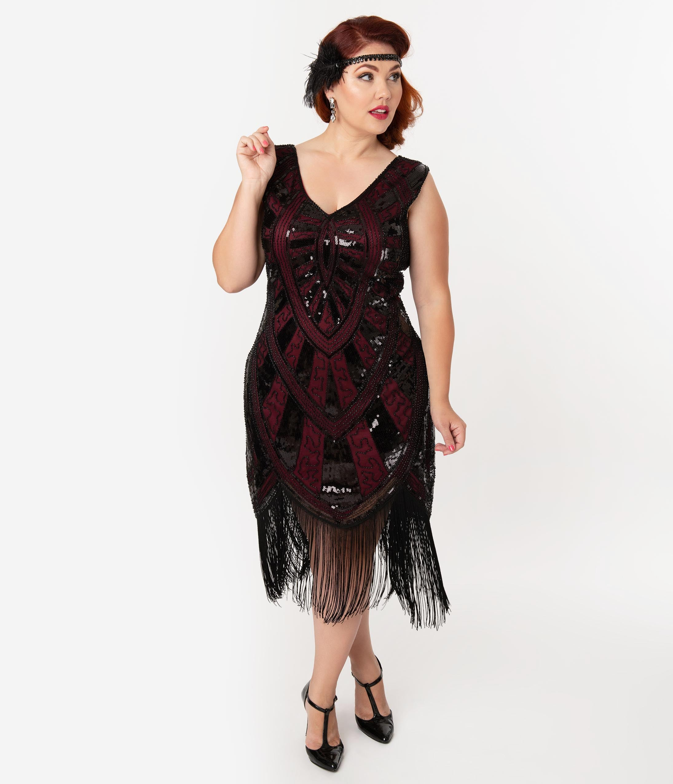 Flapper Dresses & Quality Flapper Costumes Unique Vintage Plus Size 1920S Burgundy  Black Beaded Fringe Magdeleine Flapper Dress $98.00 AT vintagedancer.com