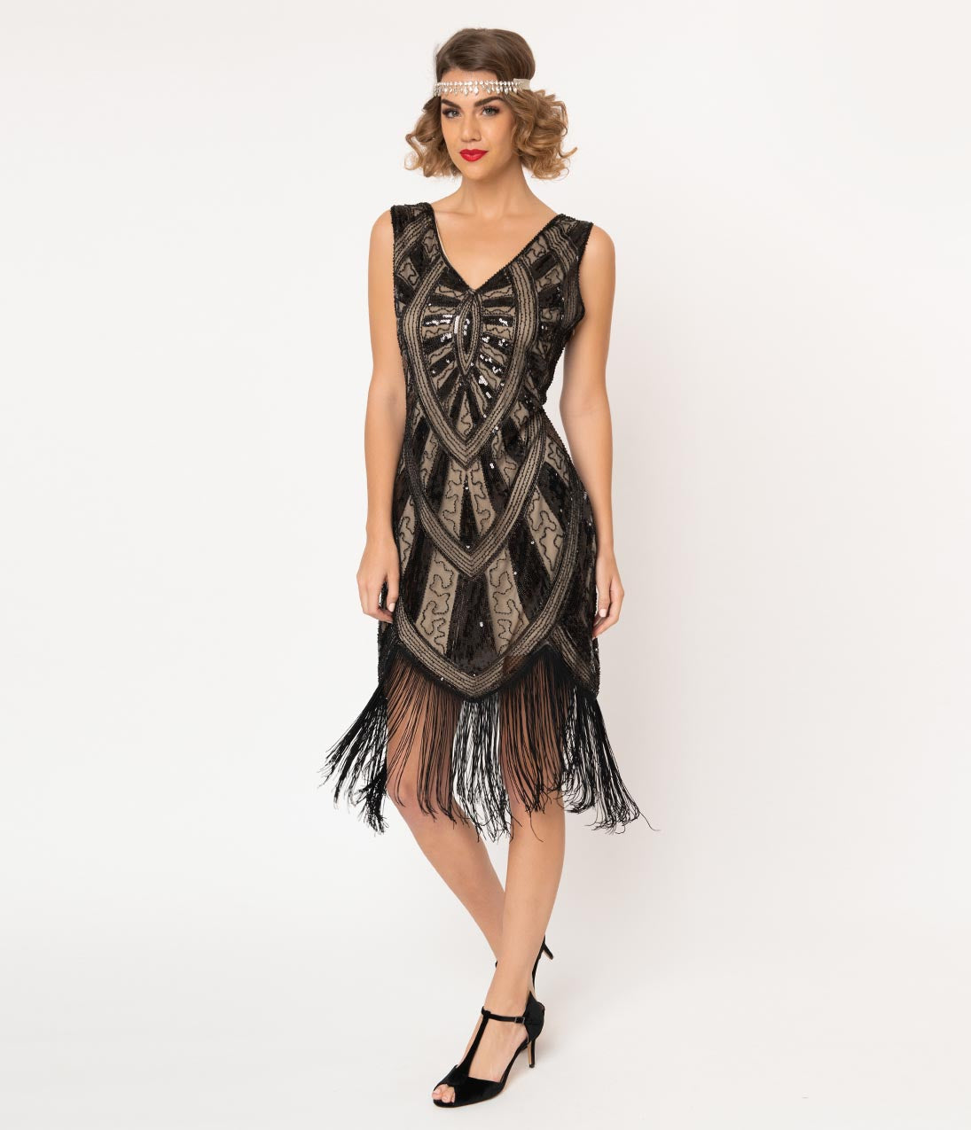 Gangster Costumes & Outfits | Women's and Men's Unique Vintage 1920S Black  Beige Beaded Fringe Magdeleine Flapper Dress $98.00 AT vintagedancer.com