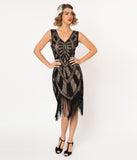 Unique Vintage 1920s Black & Beige Beaded Fringe Magdeleine Flapper Dress