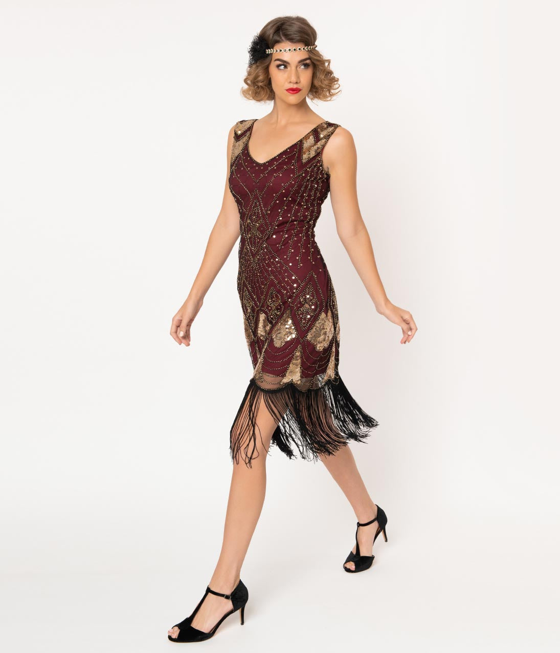 1920s Formal Dresses & Evening Gowns Guide Unique Vintage Burgundy  Gold Sequin Lina Fringe Flapper Dress $98.00 AT vintagedancer.com