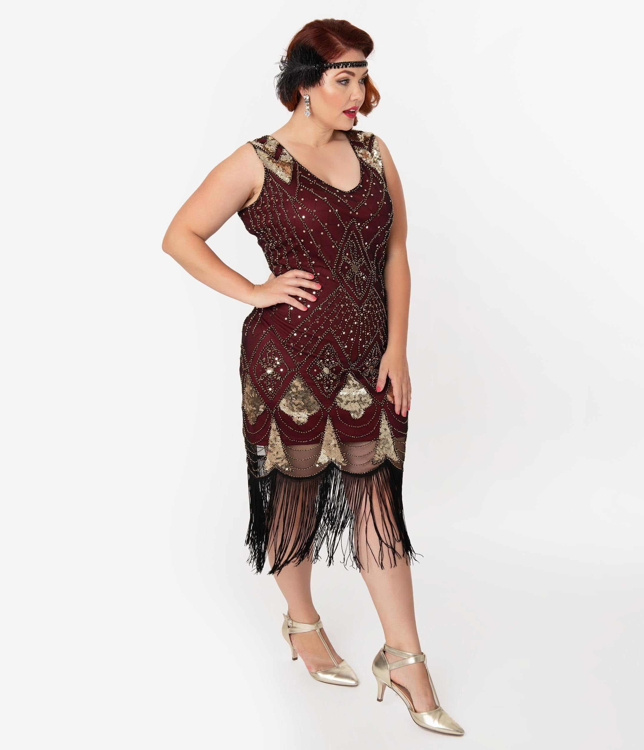 1920s Plus Size Flapper Dresses, Gatsby Dresses, Flapper Costumes Unique Vintage Plus Size Burgundy  Gold Sequin Lina Fringe Flapper Dress $98.00 AT vintagedancer.com