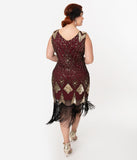 Unique Vintage Plus Size Burgundy & Gold Sequin Lina Fringe Flapper Dress
