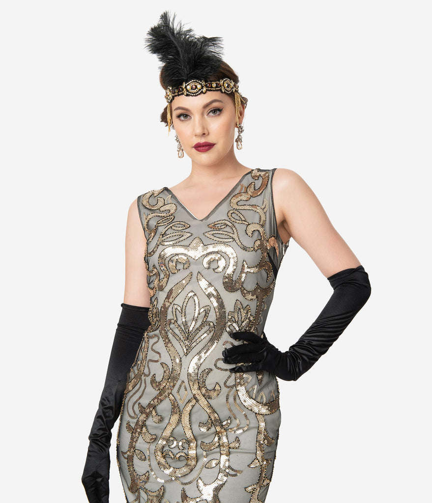 Unique Vintage 1920s Beige & Gold Sequin Bergere Flapper Dress