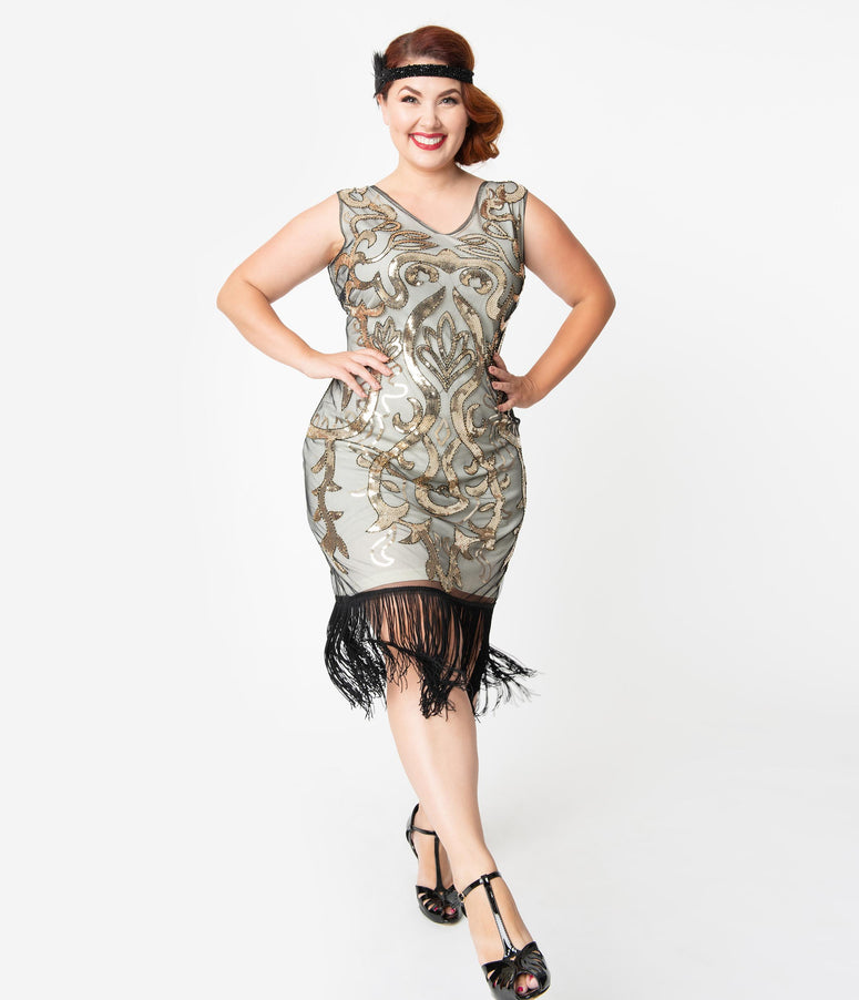 Unique Vintage Plus Size 1920s Beige & Gold Sequin Bergere Flapper Dress