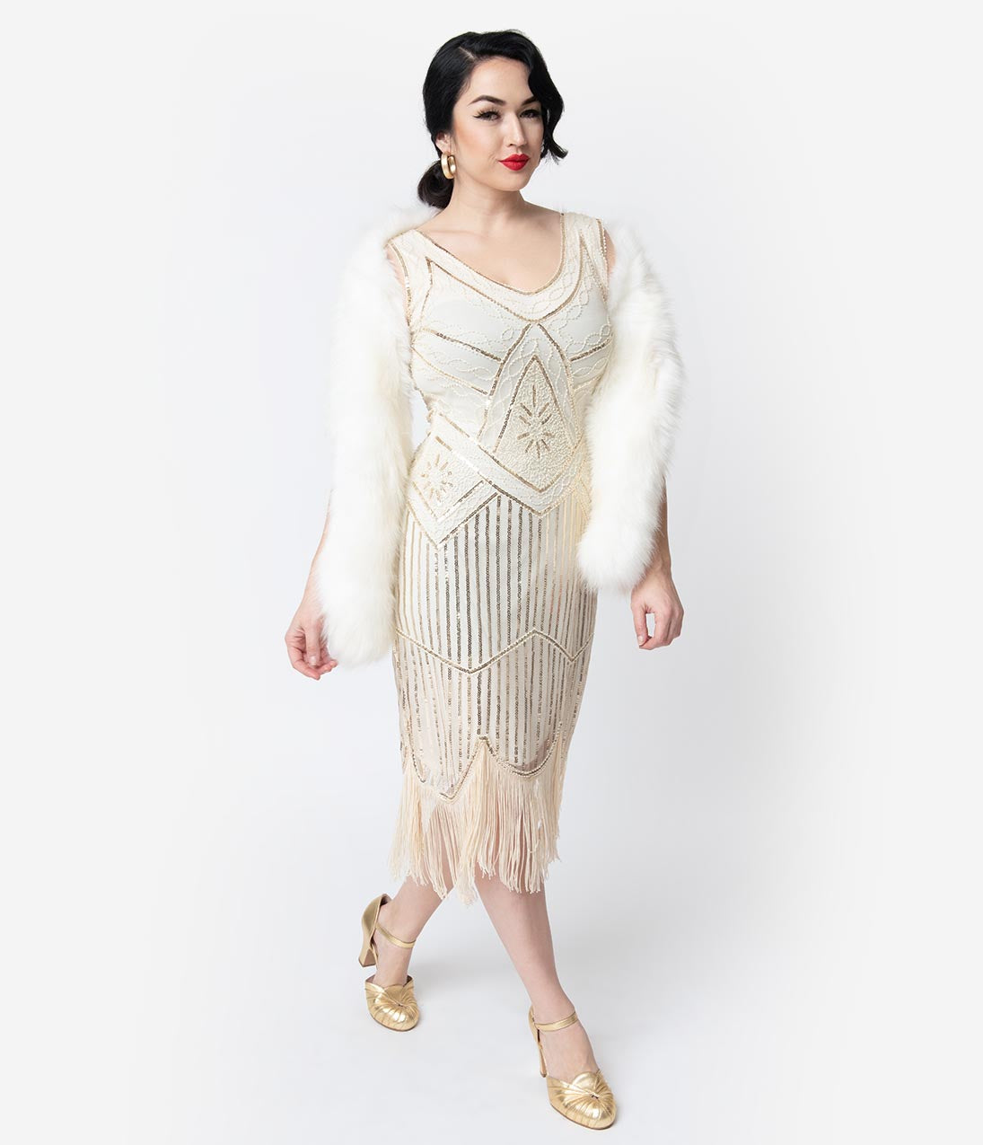 Vintage Style Wedding Dresses, Vintage Inspired Wedding Gowns Unique Vintage Cream  Gold Beaded Leonie Fringe Flapper Dress $98.00 AT vintagedancer.com