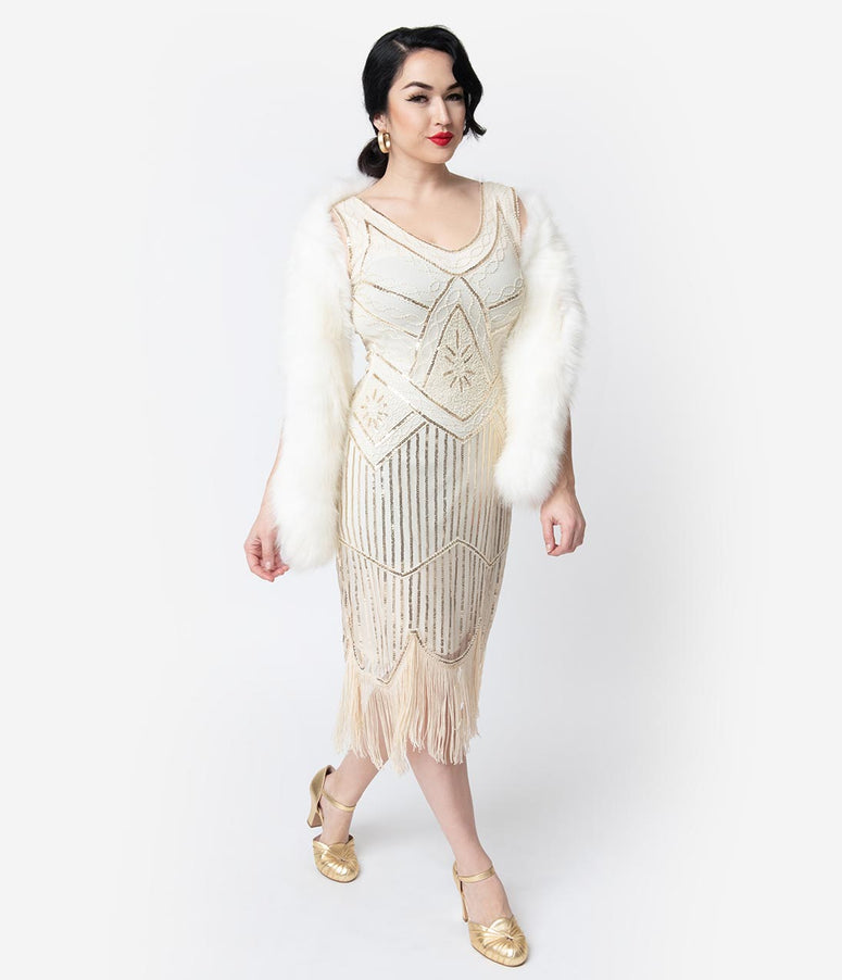 Unique Vintage Cream & Gold Beaded Leonie Fringe Flapper Dress