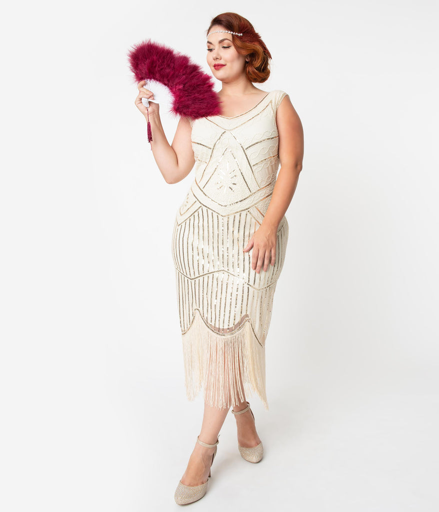 Unique Vintage Plus Size Cream & Gold Beaded Leonie Fringe Flapper Dress