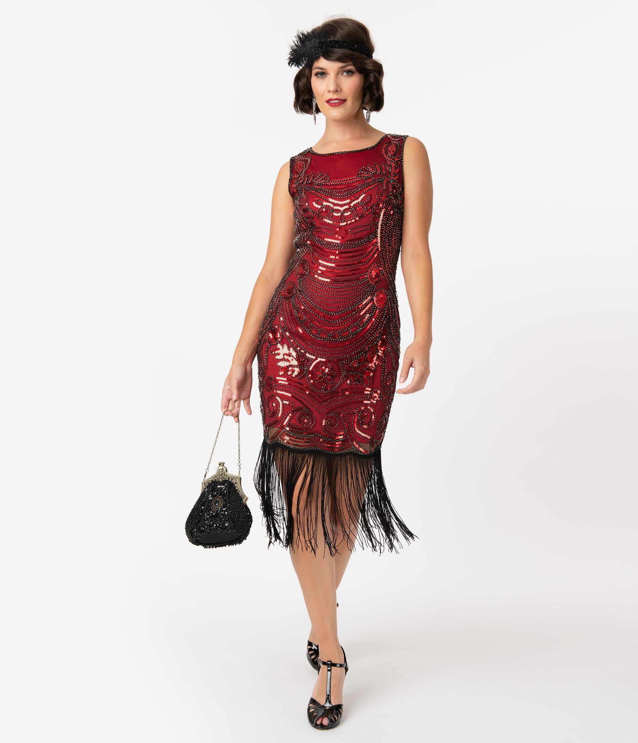 1920s Costumes: Flapper, Great Gatsby, Gangster Girl Unique Vintage 1920S Red  Black Beaded Yvette Fringe Cocktail Dress $98.00 AT vintagedancer.com
