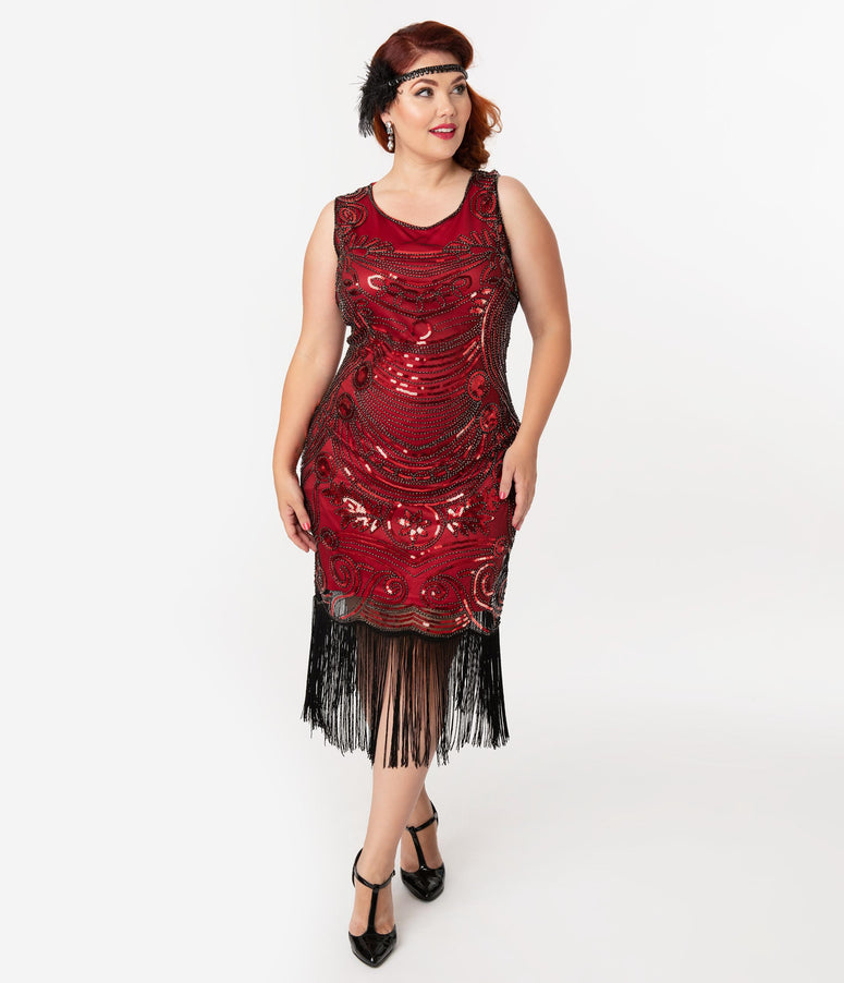 Unique Vintage Plus Size 1920s Red & Black Beaded Yvette Fringe Cocktail Dress