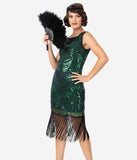 Unique Vintage 1920s Green & Blue Beaded Yvette Fringe Cocktail Dress