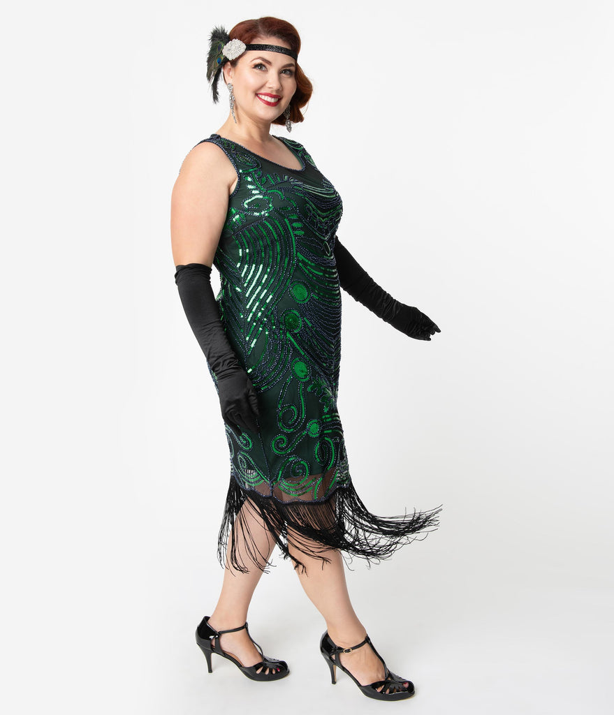 Unique Vintage Plus Size 1920s Green & Blue Beaded Yvette Fringe Cocktail Dress