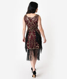 Unique Vintage Burgundy & Gold Beaded Ambroise Flapper Dress
