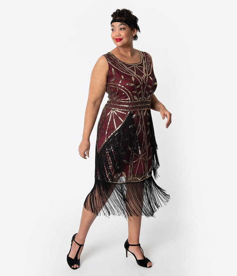 Unique Vintage Plus Size Burgundy & Gold Beaded Ambroise Flapper Dress