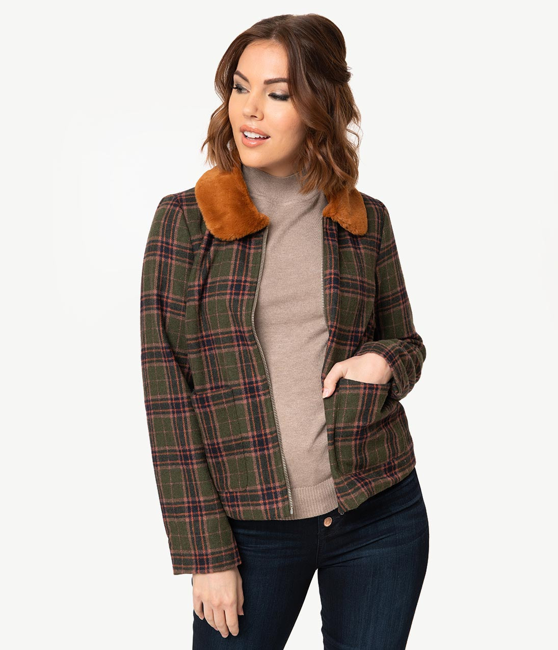 1940s Style Coats and Jackets for Sale Retro Style Olive Green Plaid  Brown Fur Collar Jacket $68.00 AT vintagedancer.com