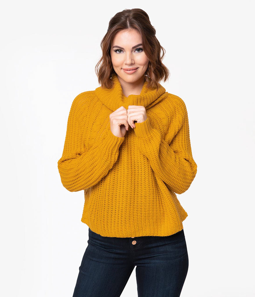 d04422ea7cc9 Mustard Yellow Cable Knit Turtleneck Long Sleeve Crop Sweater – Unique  Vintage