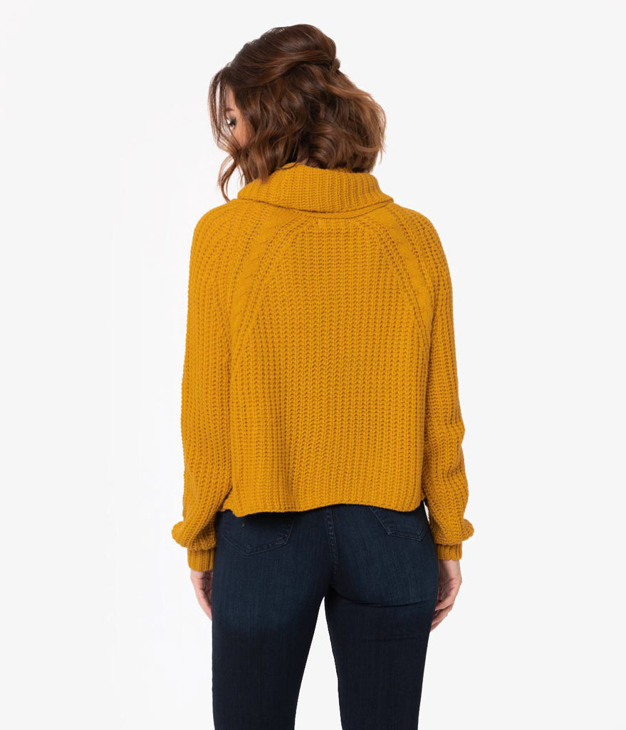 bfb54a9b9df4 ... Mustard Yellow Cable Knit Turtleneck Long Sleeve Crop Sweater ...