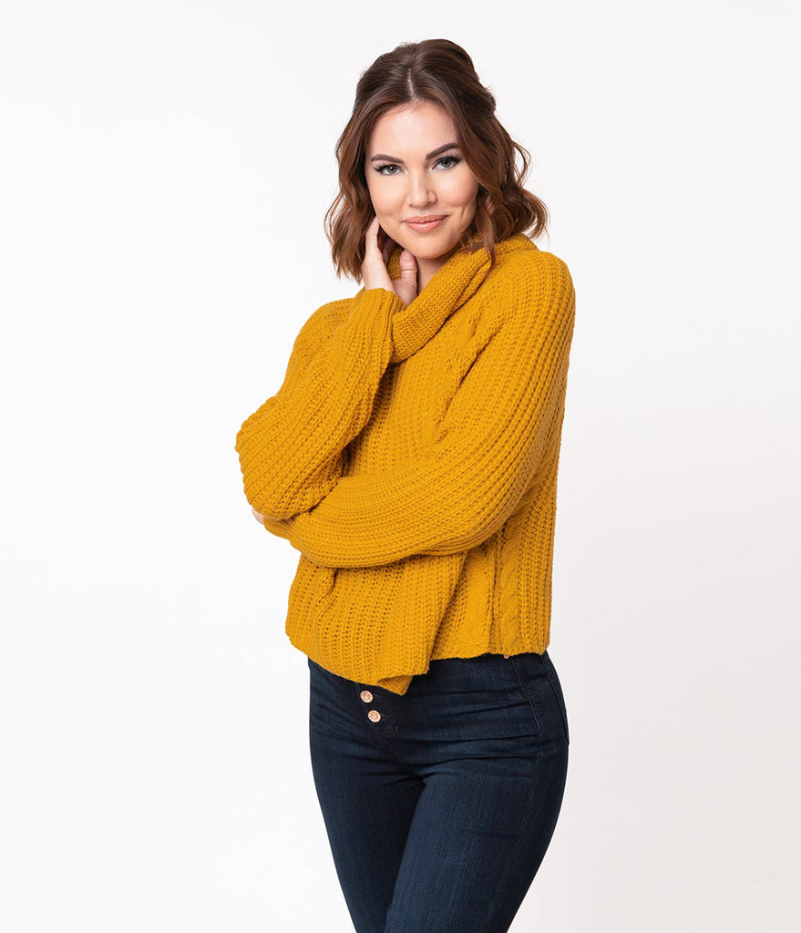 41be52fcd Mustard Yellow Cable Knit Turtleneck Long Sleeve Crop Sweater – Unique  Vintage
