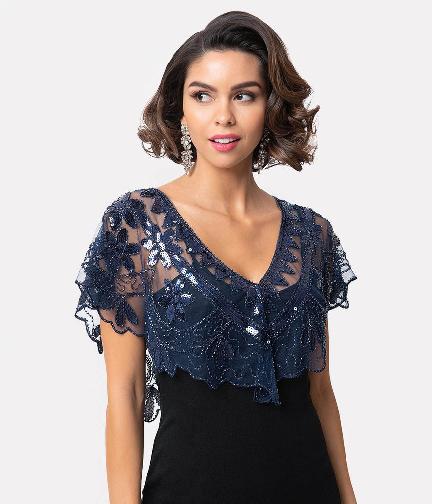 Unique Vintage 1920s Navy Mesh & Sequin Beaded Capelet