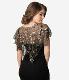 Unique Vintage 1920s Black Mesh & Golden Sequin Beaded Capelet