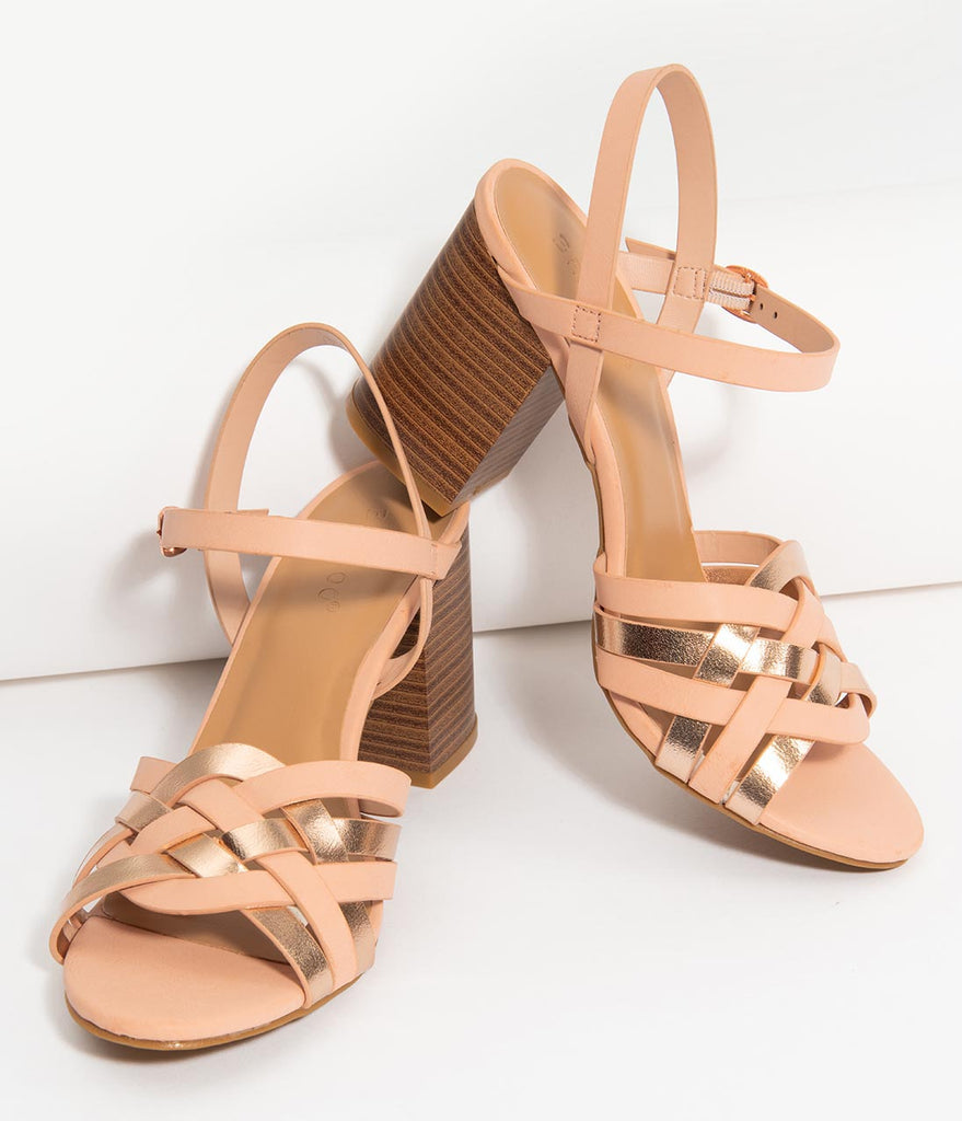 fc54d028c28 Blush   Rose Gold Woven Strappy Block Heel Sandals – Unique Vintage