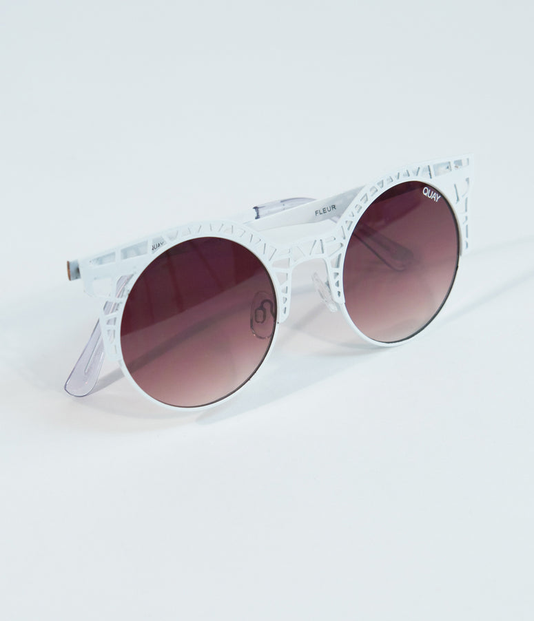 Quay White & Brown Fleur Cutout Cat Eye Sunglasses