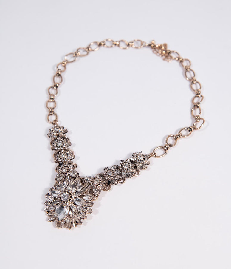 Vintage Style Silver Crystal Statement Necklace