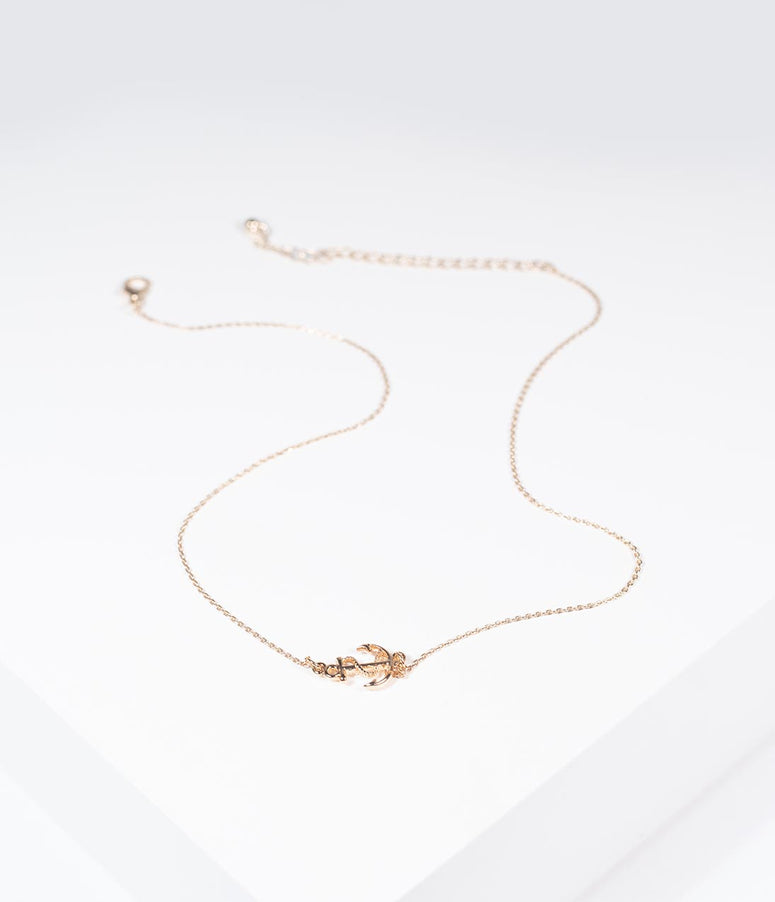 Gold Anchor Pendant Necklace
